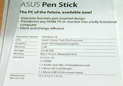 Asus Pen Stick - микрокомпьютер с Windows 10