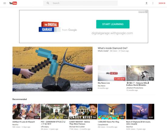 Редизайн YouTube в стиле Material Design