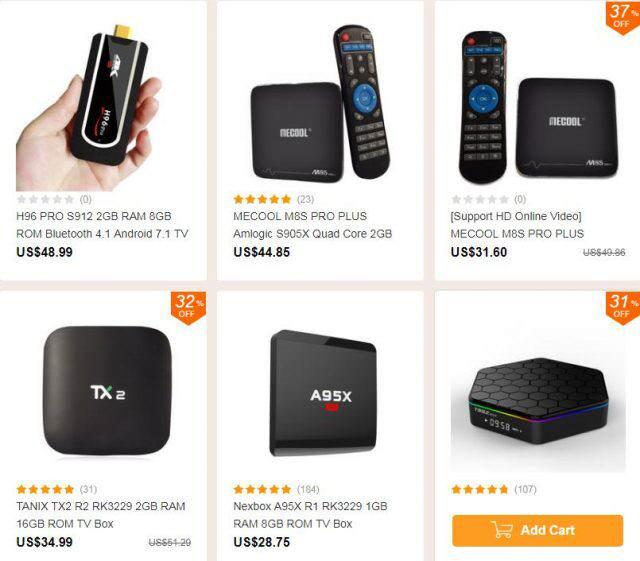 Распродажа ТВ боксов популярных брендов на banggood.com